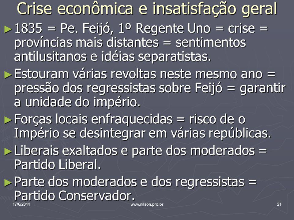 Crise econômica e insatisfação geral 1835 = Pe. Feijó, 1º Regente Uno = crise = províncias mais distantes = sentimentos antilusitanos e idéias separat