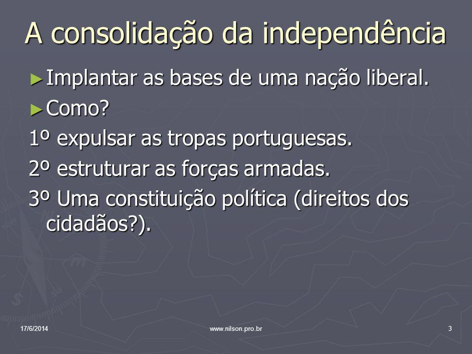 As reações à independência Independência 7 setembro de 1822 = não garante o controle do governo sobre todo o território.