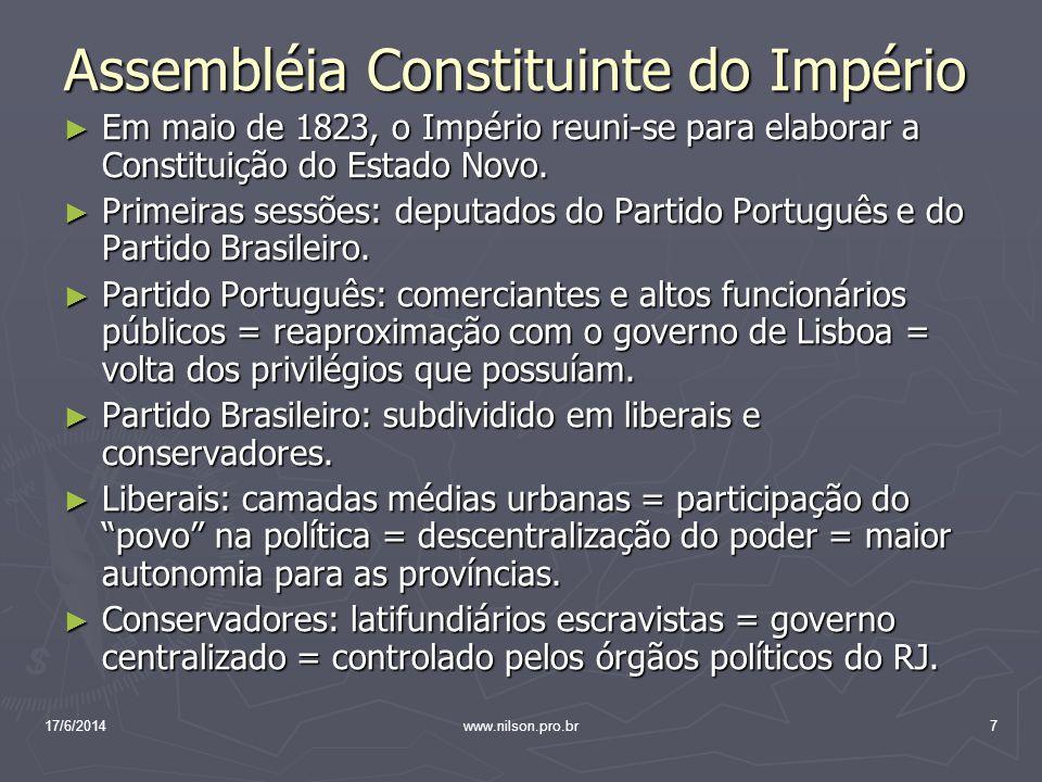 Assembléia Constituinte do Império Assembléia Constituinte do Império Em maio de 1823, o Império reuni-se para elaborar a Constituição do Estado Novo.