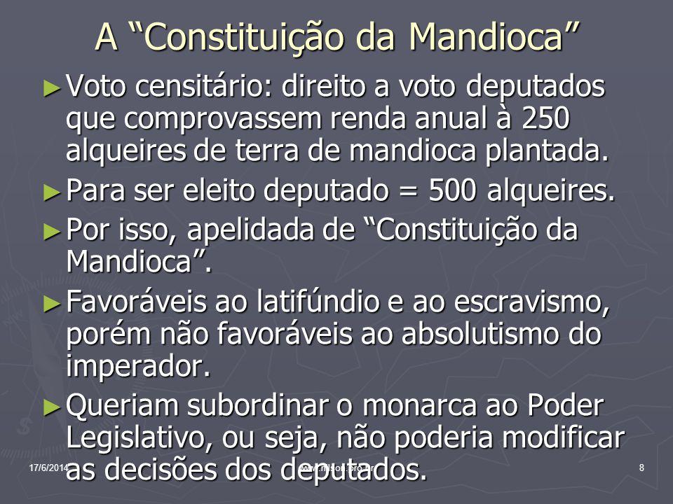 A Constituição da Mandioca Voto censitário: direito a voto deputados que comprovassem renda anual à 250 alqueires de terra de mandioca plantada. Voto