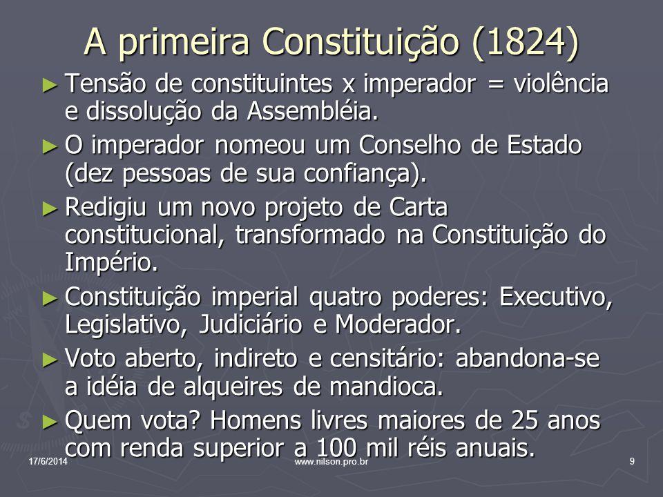 A primeira Constituição (1824) Tensão de constituintes x imperador = violência e dissolução da Assembléia. Tensão de constituintes x imperador = violê