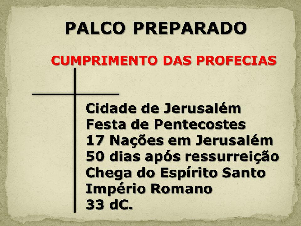 PALCO PREPARADO PALCO PREPARADO CUMPRIMENTO DAS PROFECIAS CUMPRIMENTO DAS PROFECIAS Cidade de Jerusalém Cidade de Jerusalém Festa de Pentecostes Festa