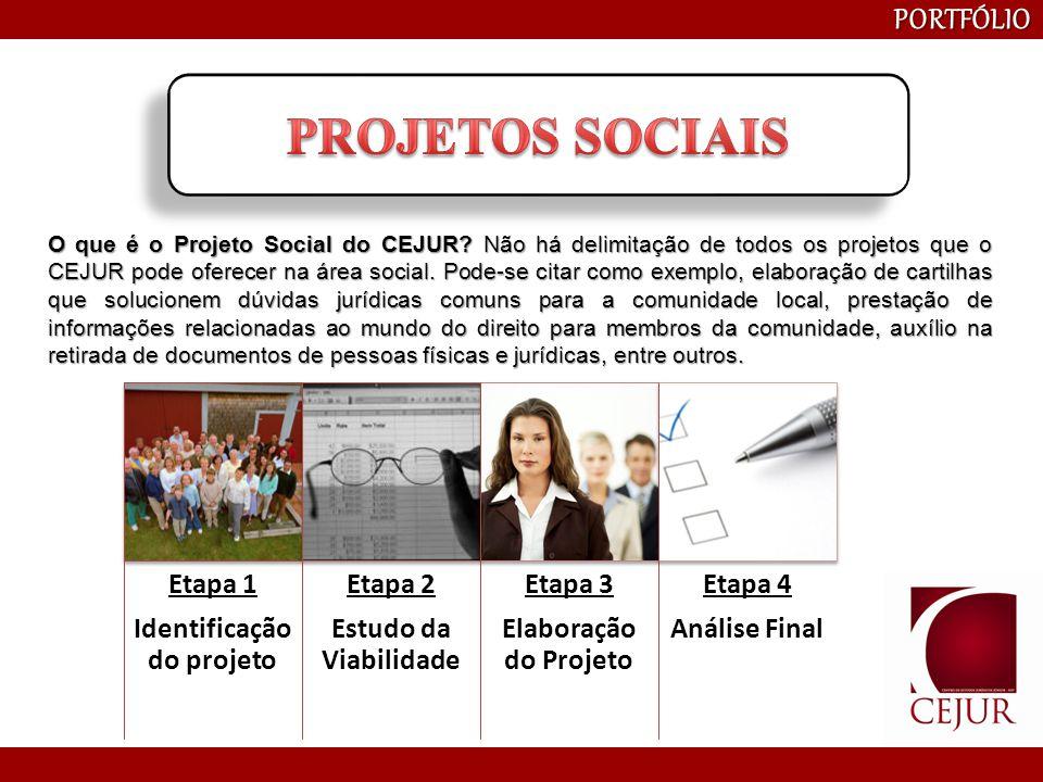 PORTFÓLIO O que é o Projeto Social do CEJUR? Não há delimitação de todos os projetos que o CEJUR pode oferecer na área social. Pode-se citar como exem