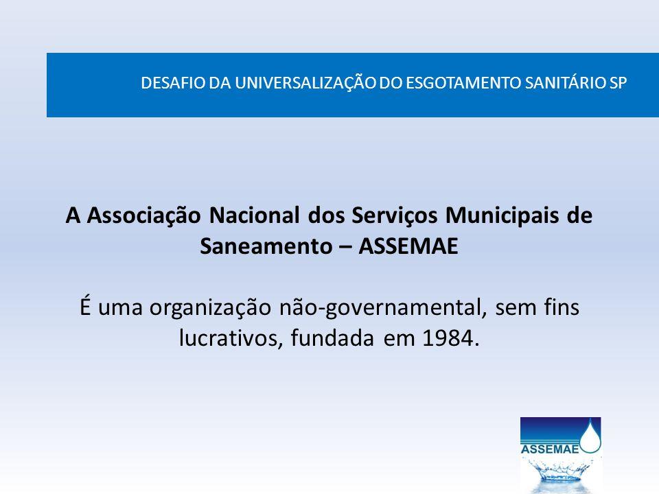 A Associação Nacional dos Serviços Municipais de Saneamento – ASSEMAE É uma organização não-governamental, sem fins lucrativos, fundada em 1984. DESAF