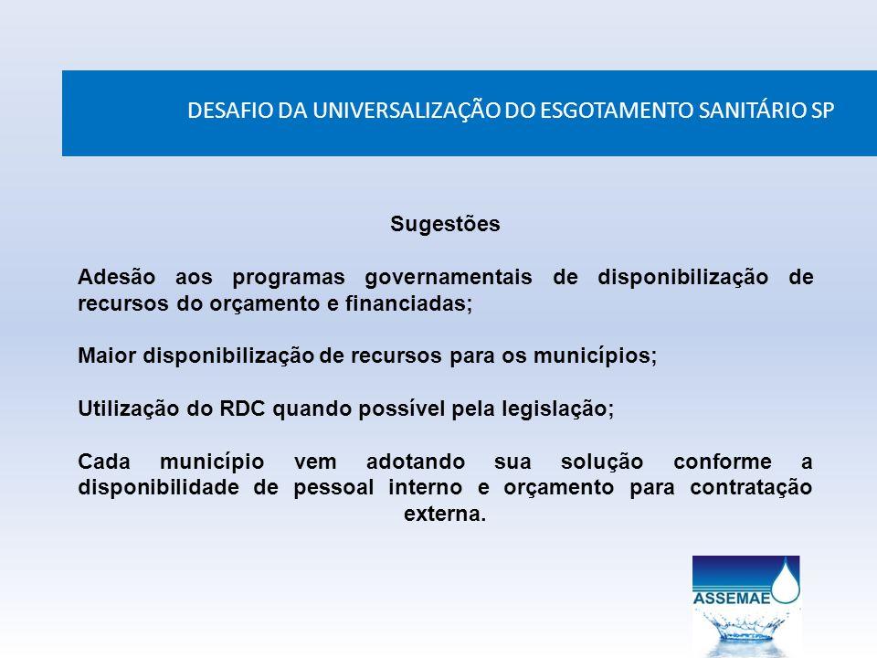 DESAFIO DA UNIVERSALIZAÇÃO DO ESGOTAMENTO SANITÁRIO SP Sugestões Adesão aos programas governamentais de disponibilização de recursos do orçamento e fi