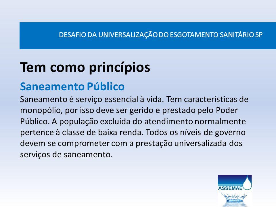 DESAFIO DA UNIVERSALIZAÇÃO DO ESGOTAMENTO SANITÁRIO SP Tem como princípios Saneamento Público Saneamento é serviço essencial à vida. Tem característic