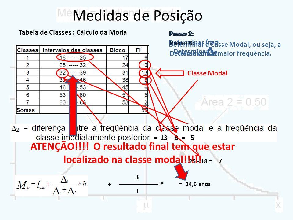Tabela de Classes : Cálculo da Moda Passo 1: Determinar a Casse Modal, ou seja, a classe com a maior frequência. Classe Modal = 32 + = + 10 =3 3 13 -=