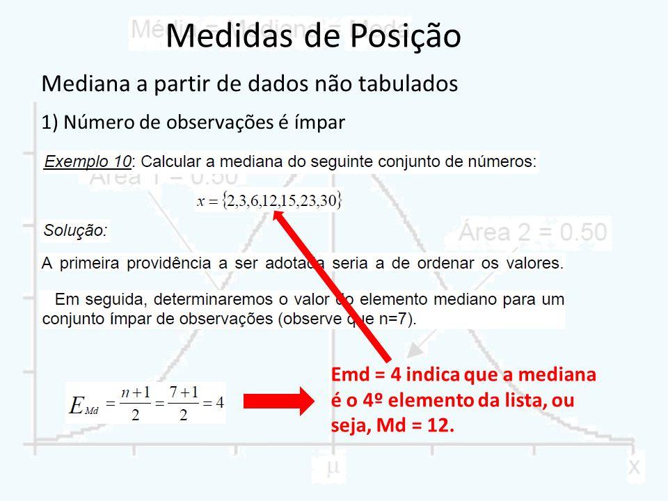 Mediana a partir de dados não tabulados 1) Número de observações é ímpar Emd = 4 indica que a mediana é o 4º elemento da lista, ou seja, Md = 12.