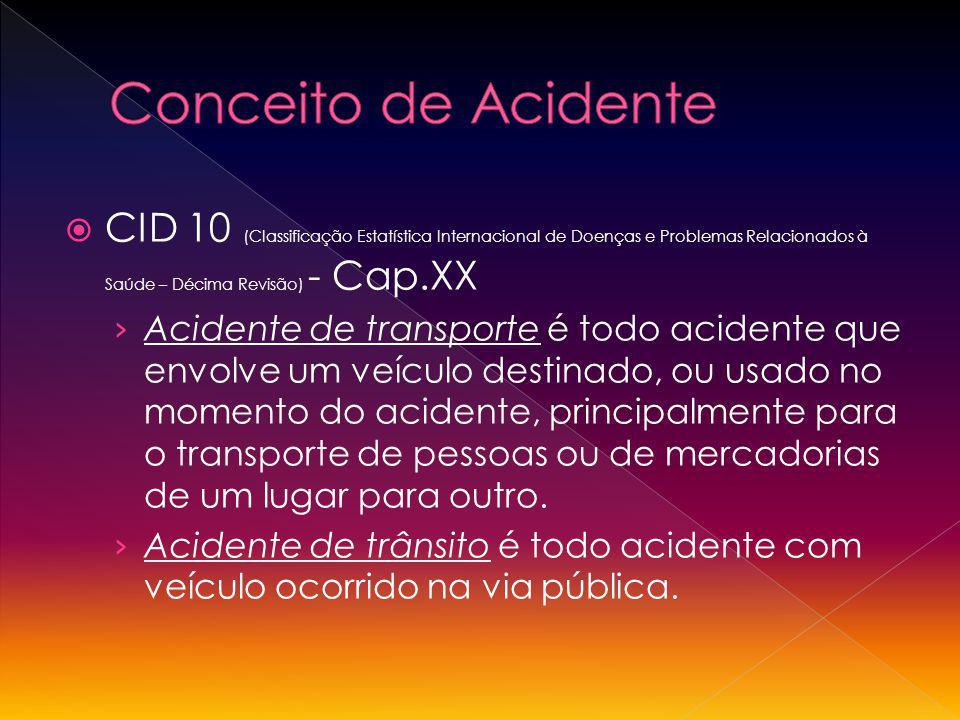 CID 10 (Classificação Estatística Internacional de Doenças e Problemas Relacionados à Saúde – Décima Revisão) - Cap.XX Acidente de transporte é todo a