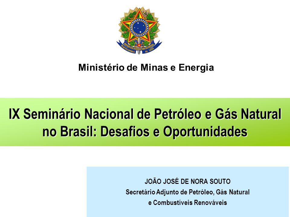 Ministério de Minas e Energia IX Seminário Nacional de Petróleo e Gás Natural no Brasil: Desafios e Oportunidades JOÃO JOSÉ DE NORA SOUTO Secretário A