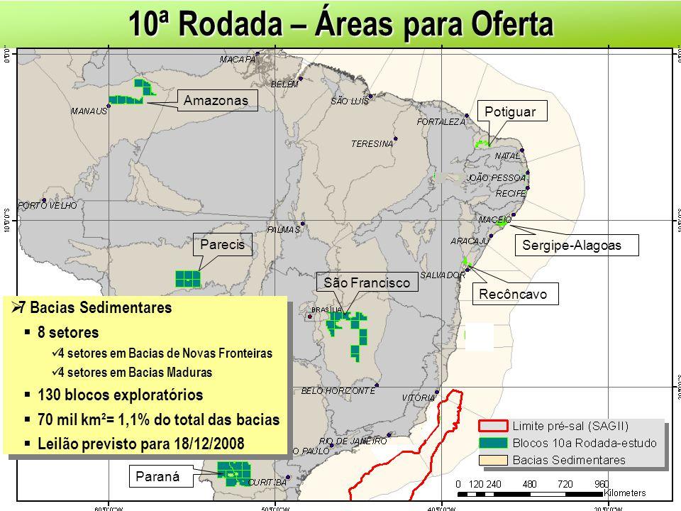 10ª Rodada – Áreas para Oferta 7 Bacias Sedimentares 8 setores 4 setores em Bacias de Novas Fronteiras 4 setores em Bacias Maduras 130 blocos explorat