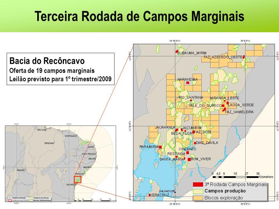 Terceira Rodada de Campos Marginais Bacia do Recôncavo Oferta de 19 campos marginais Leilão previsto para 1º trimestre/2009