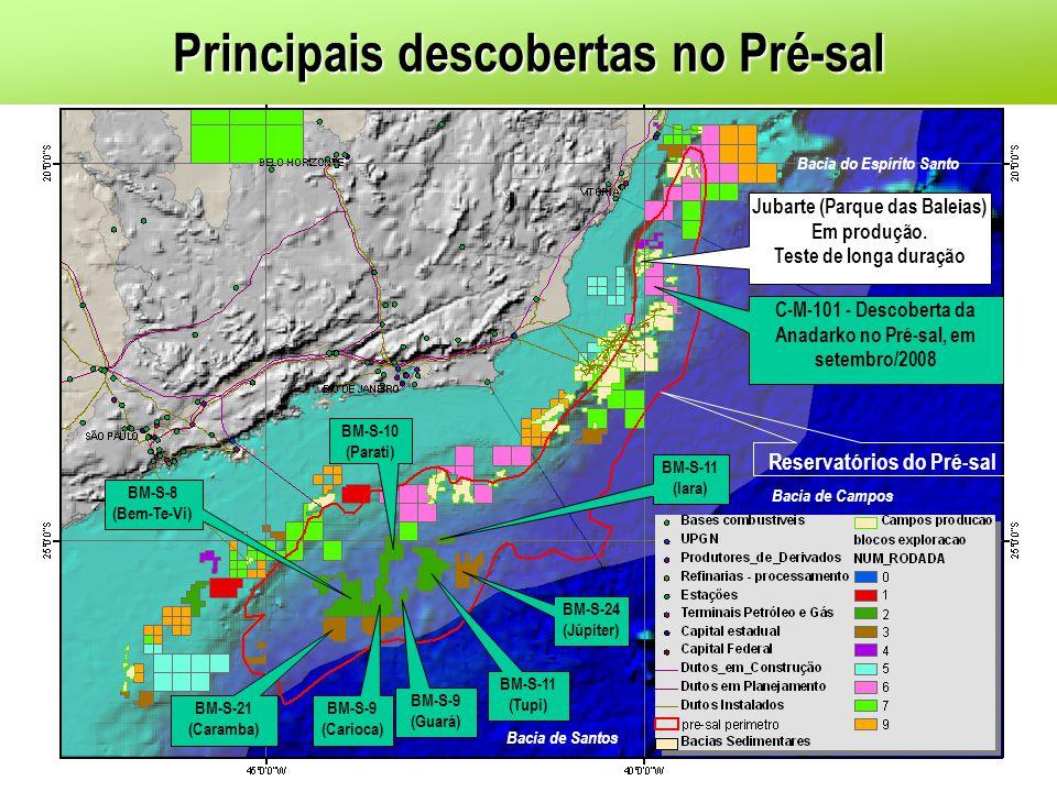 BM-S-10 (Parati) BM-S-11 (Tupi) BM-S-24 (Júpiter) BM-S-11 (Iara) BM-S-9 (Guará) BM-S-21 (Caramba) BM-S-8 (Bem-Te-Vi) BM-S-9 (Carioca) Jubarte (Parque