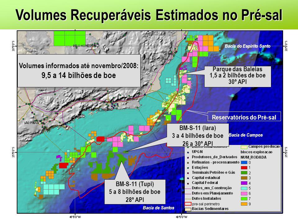 BM-S-11 (Tupi) 5 a 8 bilhões de boe 28º API BM-S-11 (Iara) 3 a 4 bilhões de boe 26 a 30º API Parque das Baleias 1,5 a 2 bilhões de boe 30º API Reserva