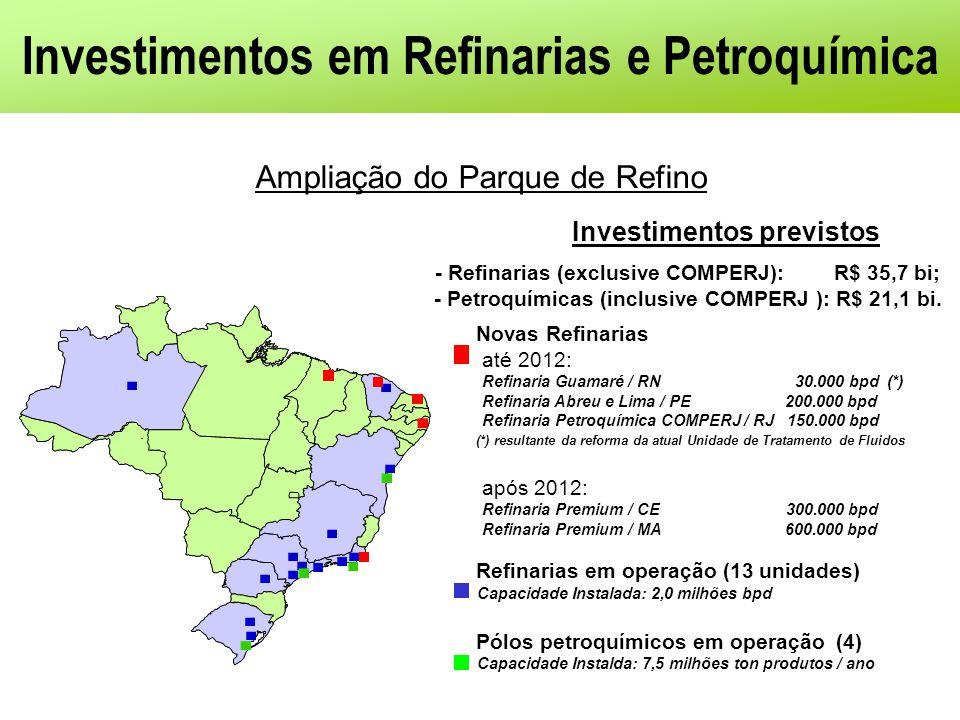 Investimentos em Refinarias e Petroquímica Investimentos previstos - Refinarias (exclusive COMPERJ): R$ 35,7 bi; - Petroquímicas (inclusive COMPERJ ):