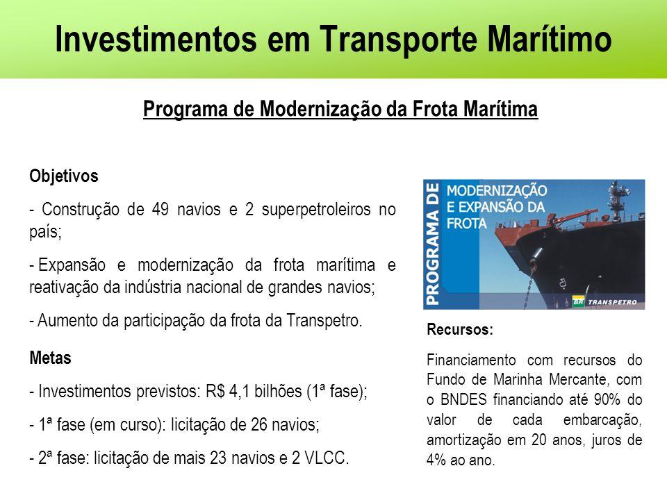 Objetivos - Construção de 49 navios e 2 superpetroleiros no país; - Expansão e modernização da frota marítima e reativação da indústria nacional de gr