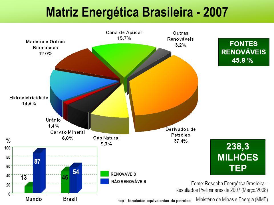 Matriz Energética Brasileira – PNE 2030 OUTROS RENOVÁVEIS (H-BIO & BIODIESEL) PRODUTOS DA CANA- DE-AÇÚCAR LENHA E CARVÃO HIDROELÉTRICA CARVÃO GÁS NATURAL PETRÓLEO 557 milhões de tep (46,6% renovável) 219 milhões de tep (44,5% renovável) 28,0 5,5 13,8 38,7 9,4 15,5 6,9 6,3 3,0 1,2 13,5 14,8 13,0 18,5 2,9 9,1 0% 20% 40% 60% 80% 100% 20052030 PETRÓLEO GÁS NATURAL CARVÃO MINERAL HIDRÁULICA LENHA&C.VEGETAL PRODUTOS DA CANA NUCLEAR OUTRAS RENOVÁVEIS (4,3 H-BIO&BIODIESEL) 219 milhões tep e 44,5% renováveis557 milhões tep e 46,6% renováveis tep – toneladas equivalentes de petróleo