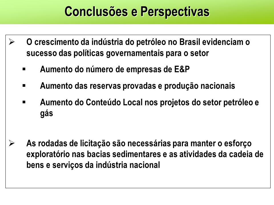 O crescimento da indústria do petróleo no Brasil evidenciam o sucesso das políticas governamentais para o setor Aumento do número de empresas de E&P A