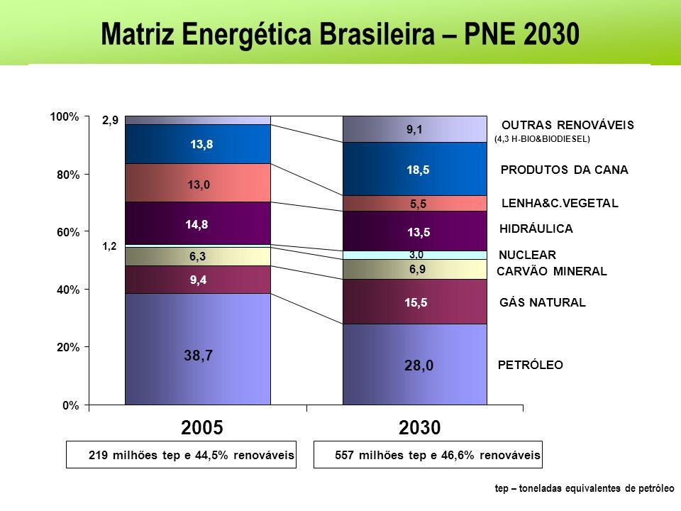Matriz Energética Brasileira – PNE 2030 OUTROS RENOVÁVEIS (H-BIO & BIODIESEL) PRODUTOS DA CANA- DE-AÇÚCAR LENHA E CARVÃO HIDROELÉTRICA CARVÃO GÁS NATU