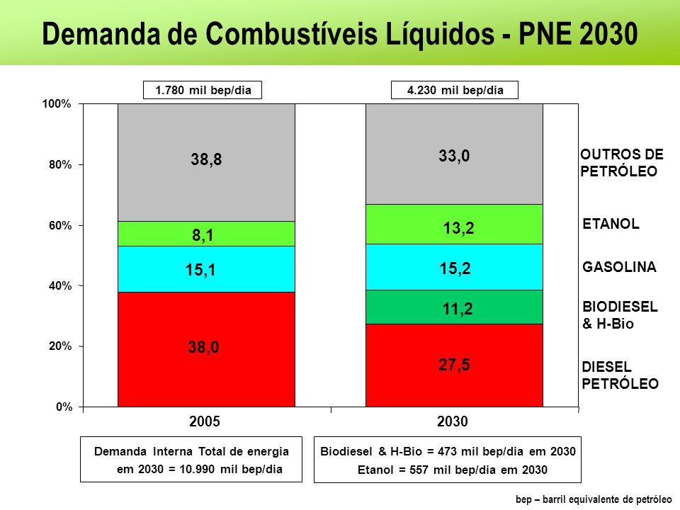 Demanda de Combustíveis Líquidos - PNE 2030 27,5 15,2 8,1 33,0 11,2 0% 20% 40% 60% 80% 100% 20052030 38,0 BIODIESEL & H-Bio 15,1 13,2 38,8 1.780 mil b