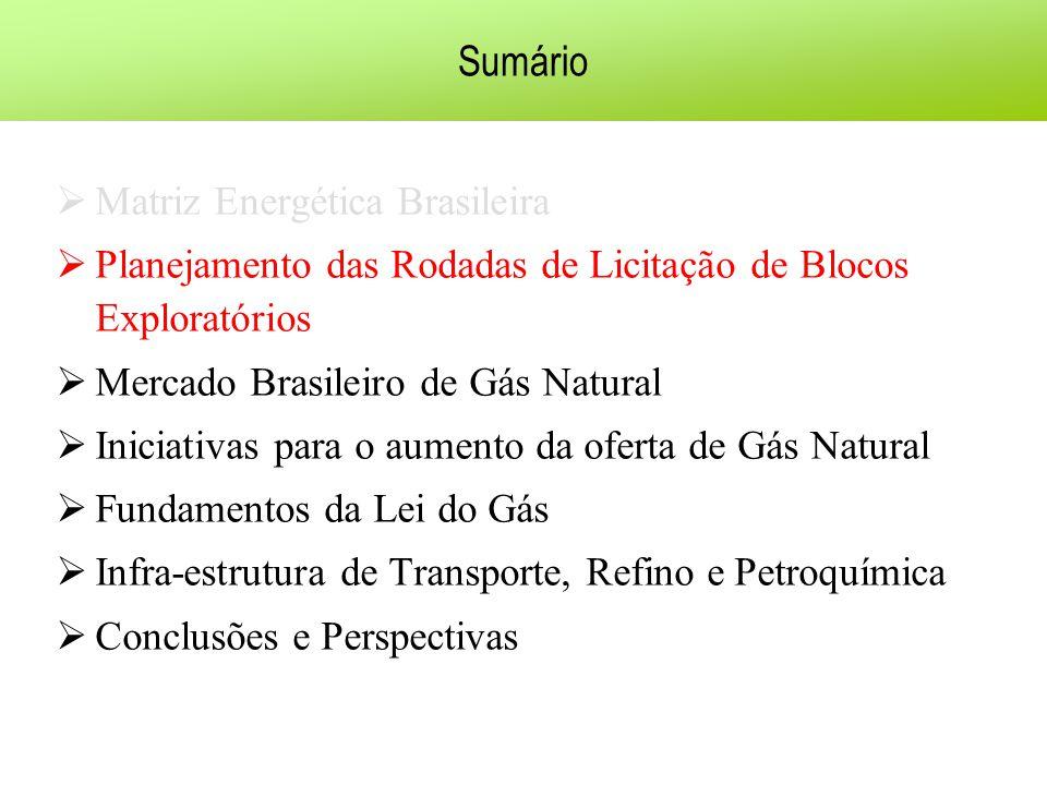 Sumário Matriz Energética Brasileira Planejamento das Rodadas de Licitação de Blocos Exploratórios Mercado Brasileiro de Gás Natural Iniciativas para