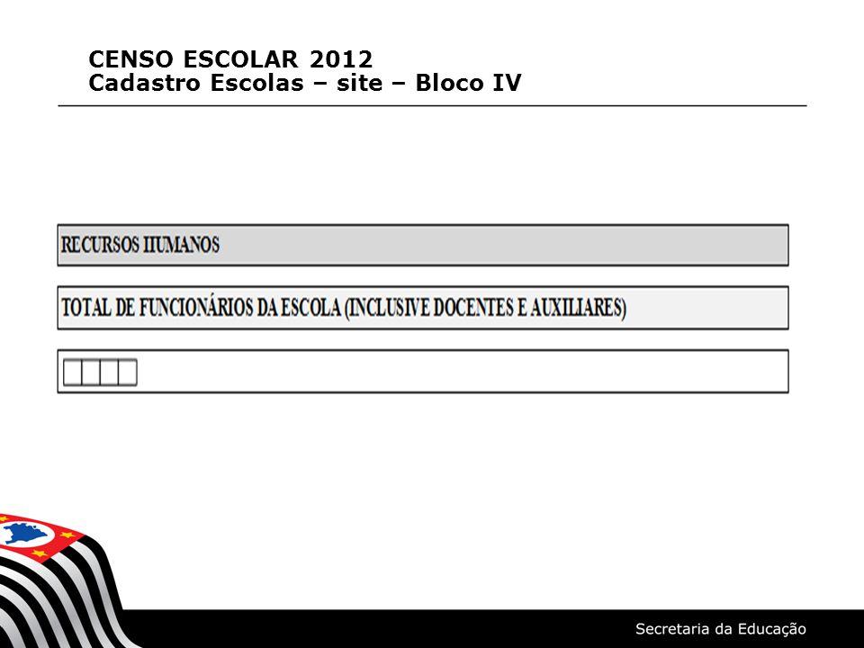 CENSO ESCOLAR 2012 Cadastro Escolas – site – Bloco IV