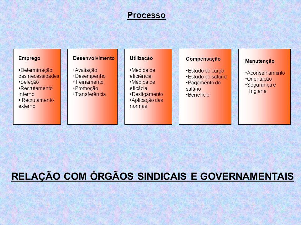 Processo Emprego Determinação das necessidades Seleção Recrutamento interno Recrutamento externo Manutenção Aconselhamento Orientação Segurança e higi