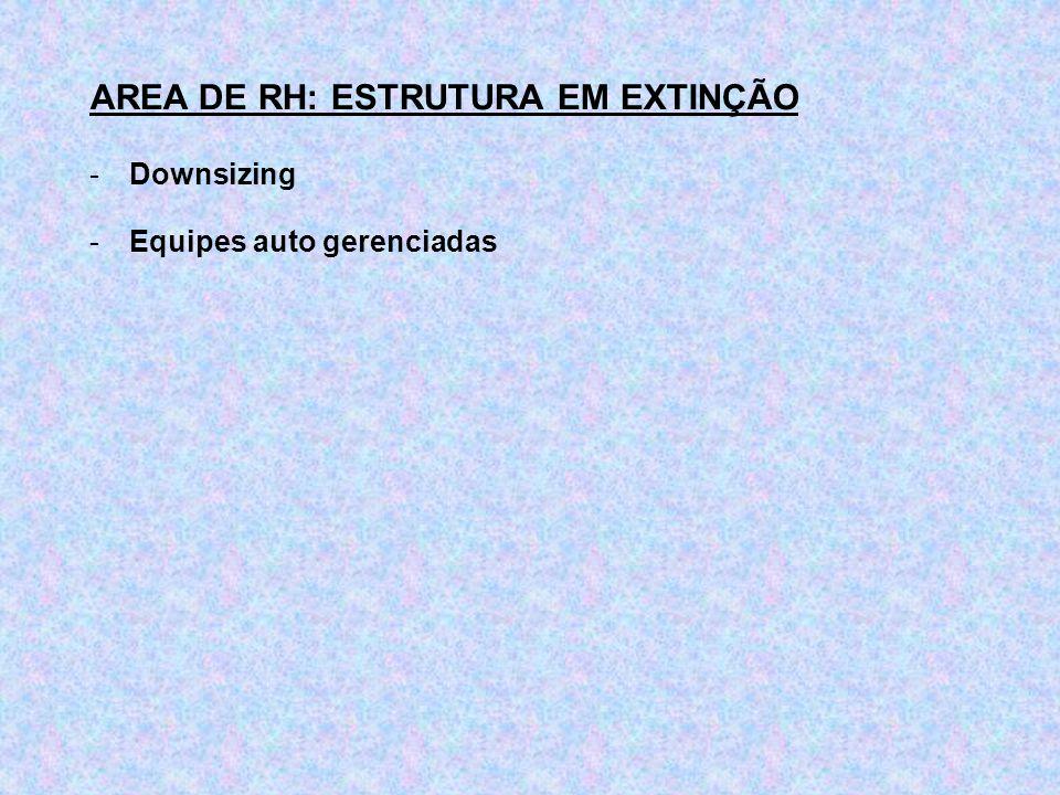 AREA DE RH: ESTRUTURA EM EXTINÇÃO -Downsizing -Equipes auto gerenciadas