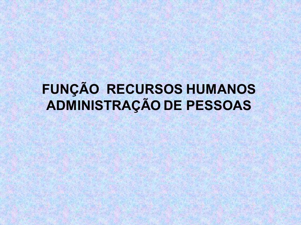 FUNÇÃO RECURSOS HUMANOS ADMINISTRAÇÃO DE PESSOAS