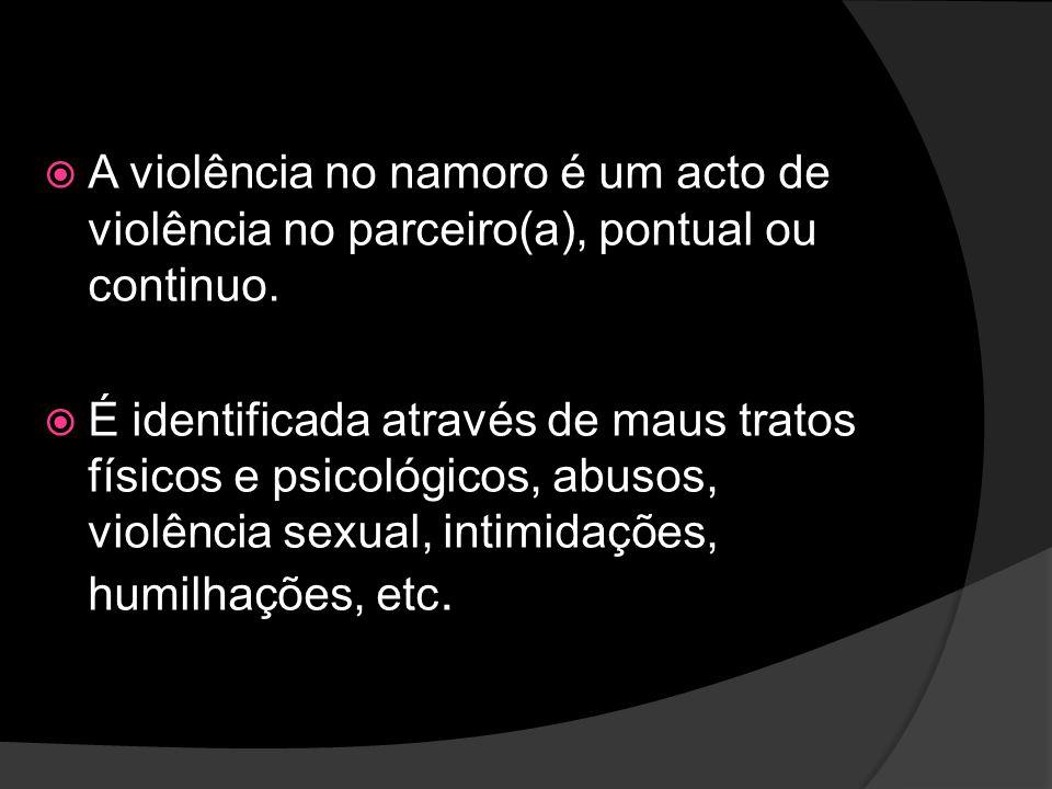 A violência no namoro é um acto de violência no parceiro(a), pontual ou continuo. É identificada através de maus tratos físicos e psicológicos, abusos
