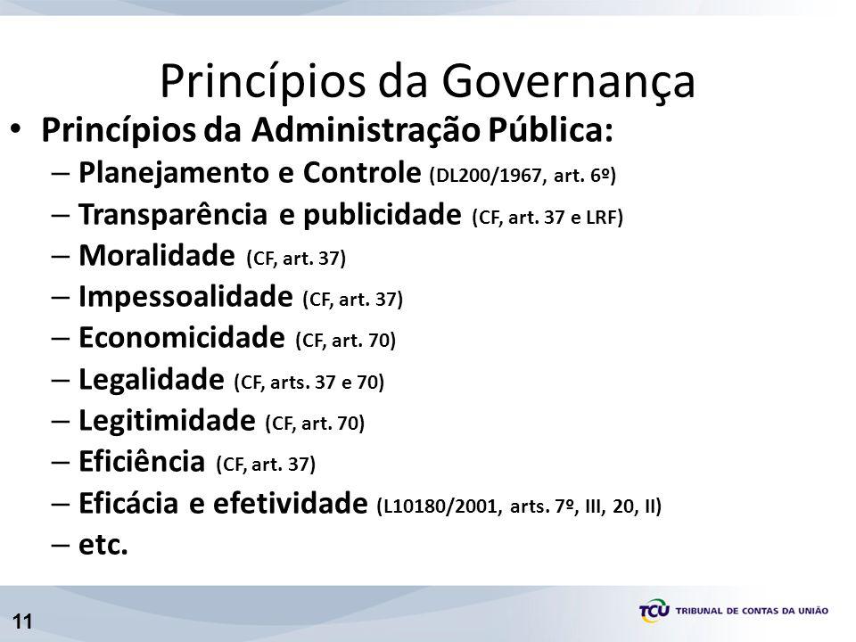 11 Princípios da Administração Pública: – Planejamento e Controle (DL200/1967, art. 6º) – Transparência e publicidade (CF, art. 37 e LRF) – Moralidade