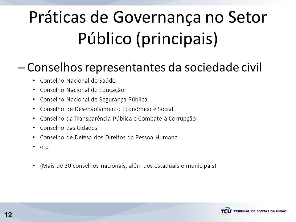 12 – Conselhos representantes da sociedade civil Conselho Nacional de Saúde Conselho Nacional de Educação Conselho Nacional de Segurança Pública Conse