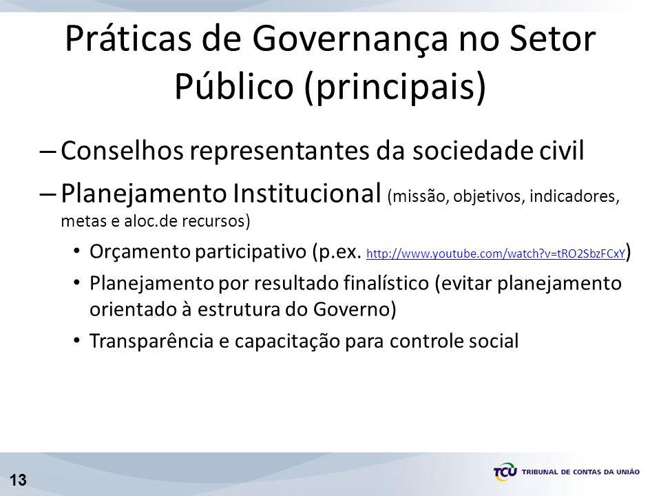 13 – Conselhos representantes da sociedade civil – Planejamento Institucional (missão, objetivos, indicadores, metas e aloc.de recursos) Orçamento par