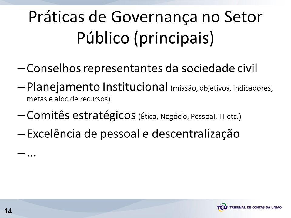 14 – Conselhos representantes da sociedade civil – Planejamento Institucional (missão, objetivos, indicadores, metas e aloc.de recursos) – Comitês est
