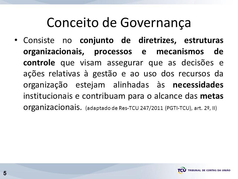 5 Conceito de Governança Consiste no conjunto de diretrizes, estruturas organizacionais, processos e mecanismos de controle que visam assegurar que as