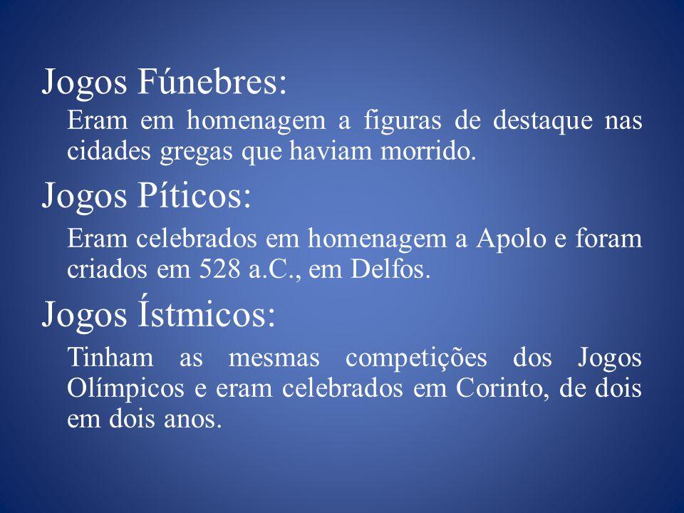 Como exemplo dos Jogos Gregos, pode-se citar os Jogos Fúnebres, os Jogos Píticos, os Jogos Ístmicos, as Panatenéias, outros Jogos e principalmente os