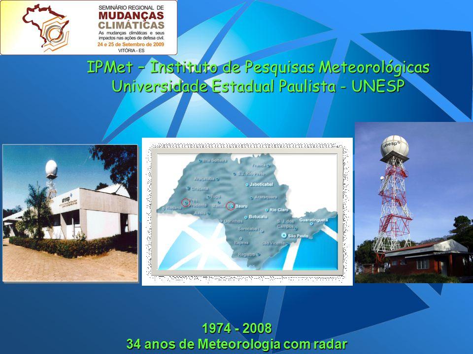 1974 - 2008 34 anos de Meteorologia com radar IPMet – Instituto de Pesquisas Meteorológicas Universidade Estadual Paulista - UNESP
