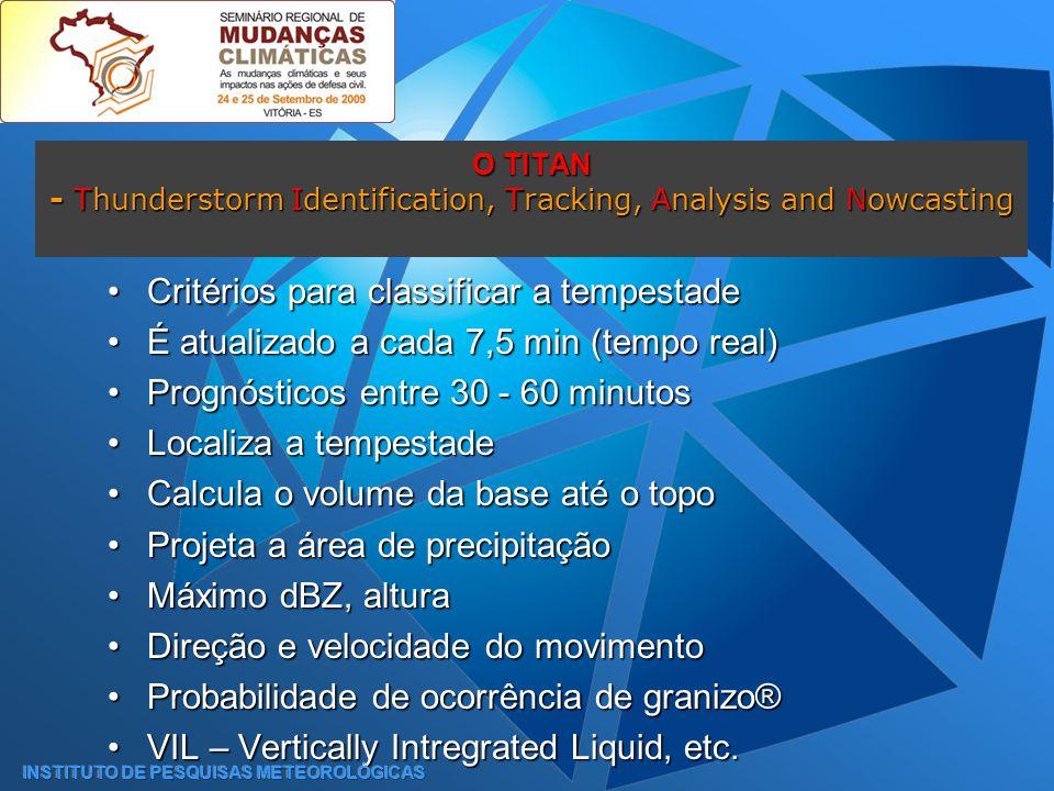Critérios para classificar a tempestadeCritérios para classificar a tempestade É atualizado a cada 7,5 min (tempo real)É atualizado a cada 7,5 min (tempo real) Prognósticos entre 30 - 60 minutosPrognósticos entre 30 - 60 minutos Localiza a tempestadeLocaliza a tempestade Calcula o volume da base até o topoCalcula o volume da base até o topo Projeta a área de precipitaçãoProjeta a área de precipitação Máximo dBZ, alturaMáximo dBZ, altura Direção e velocidade do movimentoDireção e velocidade do movimento Probabilidade de ocorrência de granizo®Probabilidade de ocorrência de granizo® VIL – Vertically Intregrated Liquid, etc.VIL – Vertically Intregrated Liquid, etc.