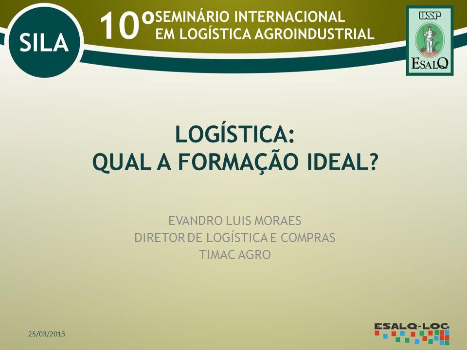 LOGÍSTICA: QUAL A FORMAÇÃO IDEAL? EVANDRO LUIS MORAES DIRETOR DE LOGÍSTICA E COMPRAS TIMAC AGRO 25/03/2013
