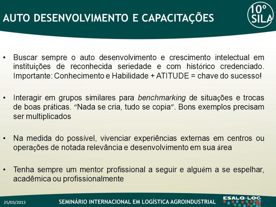 25/03/2013 AUTO DESENVOLVIMENTO E CAPACITAÇÕES Buscar sempre o auto desenvolvimento e crescimento intelectual em institui ç ões de reconhecida serieda