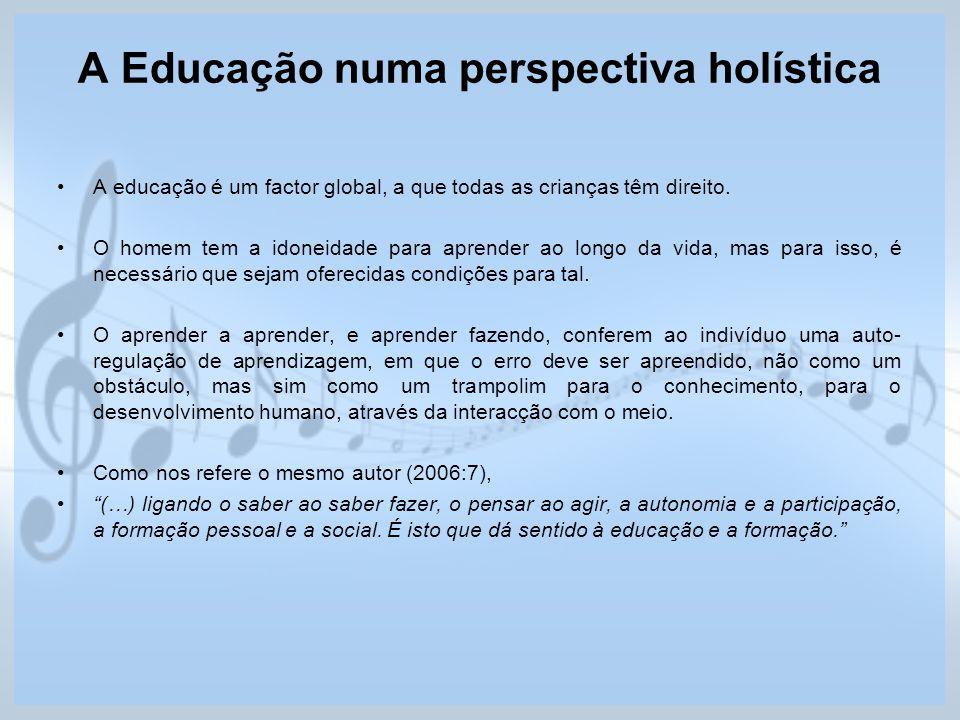A Educação numa perspectiva holística A educação é um factor global, a que todas as crianças têm direito. O homem tem a idoneidade para aprender ao lo