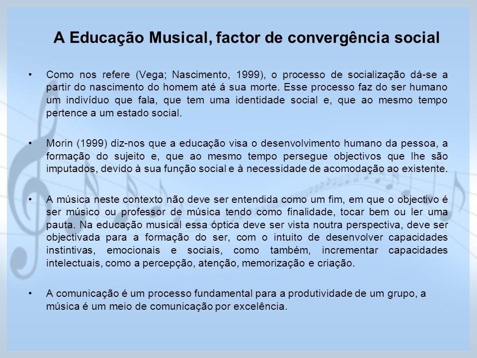 A Educação Musical, factor de convergência social Como nos refere (Vega; Nascimento, 1999), o processo de socialização dá-se a partir do nascimento do