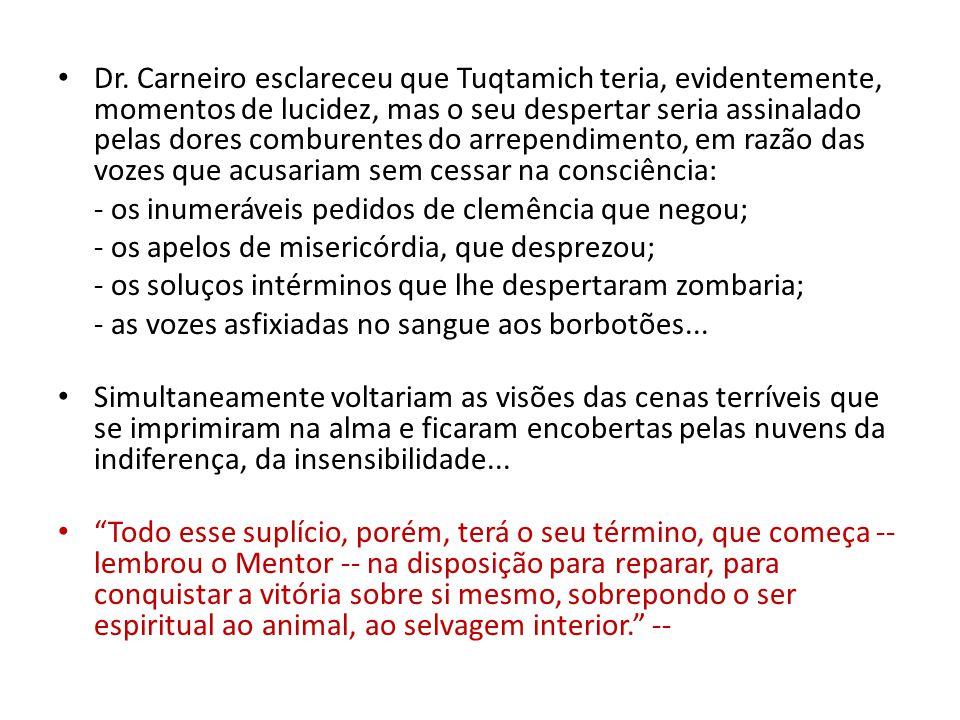 Dr. Carneiro esclareceu que Tuqtamich teria, evidentemente, momentos de lucidez, mas o seu despertar seria assinalado pelas dores comburentes do arrep