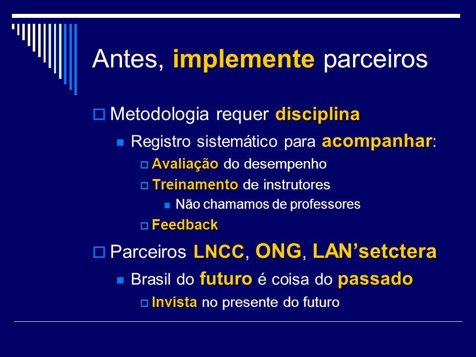 implemente Antes, implemente parceiros disciplina Metodologia requer disciplina acompanhar Registro sistemático para acompanhar : Avaliação Avaliação