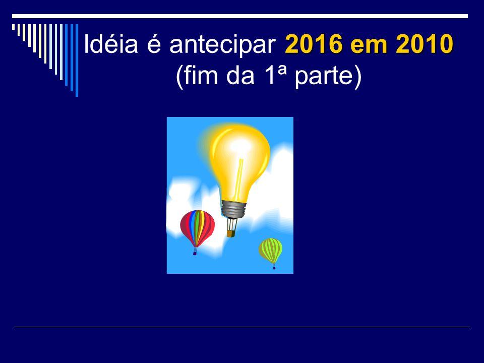 2016 em 2010 Idéia é antecipar 2016 em 2010 (fim da 1ª parte)