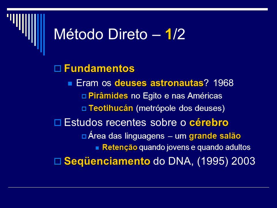 1 Método Direto – 1/2 Fundamentos Fundamentos deuses astronautas Eram os deuses astronautas? 1968 Pirâmides Pirâmides no Egito e nas Américas Teotihuc