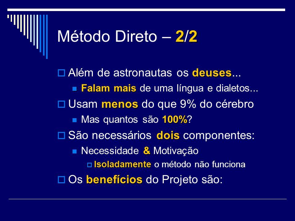 22 Método Direto – 2/2 deuses Além de astronautas os deuses... Falammais Falam mais de uma língua e dialetos... menos Usam menos do que 9% do cérebro