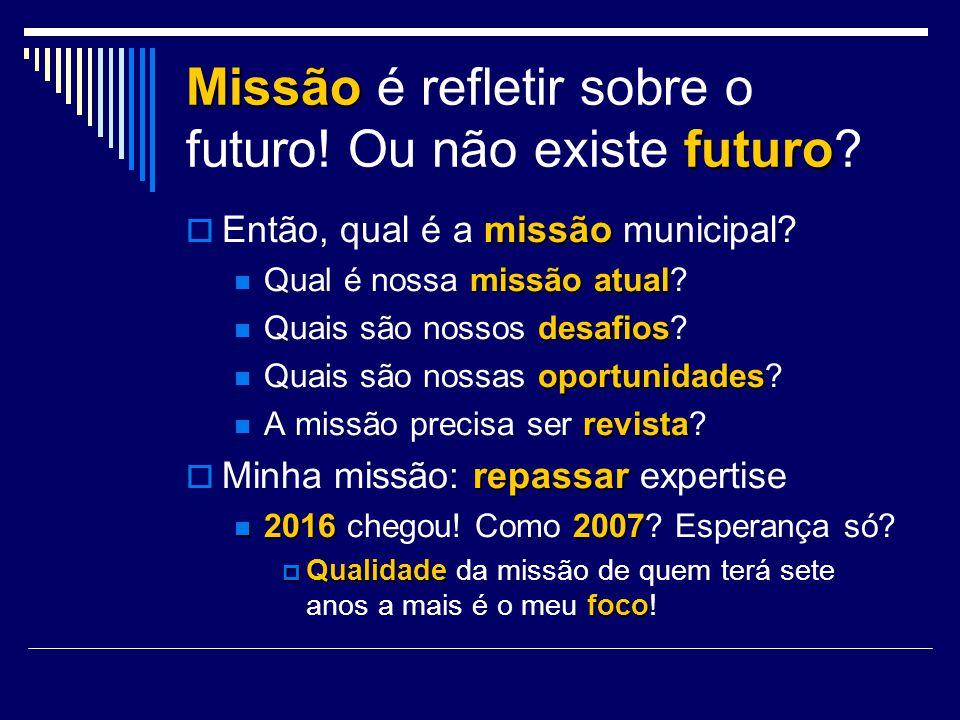 Missão é refletir sobre o futuro! Ou não existe f ff futuro? missão Então, qual é a missão municipal? missãoatual Qual é nossa missão atual? desafios
