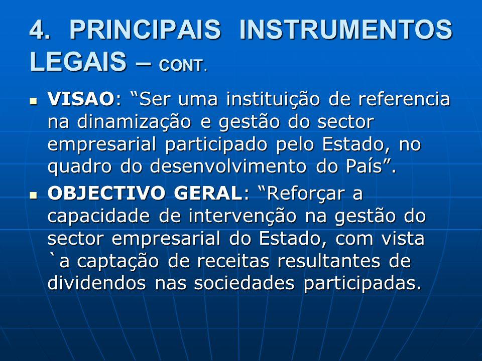 4. PRINCIPAIS INSTRUMENTOS LEGAIS – CONT. VISAO: Ser uma instituição de referencia na dinamização e gestão do sector empresarial participado pelo Esta