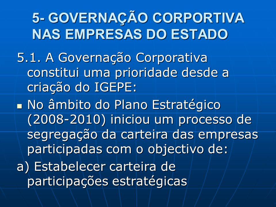 5- GOVERNAÇÃO CORPORTIVA NAS EMPRESAS DO ESTADO 5.1. A Governação Corporativa constitui uma prioridade desde a criação do IGEPE: No âmbito do Plano Es